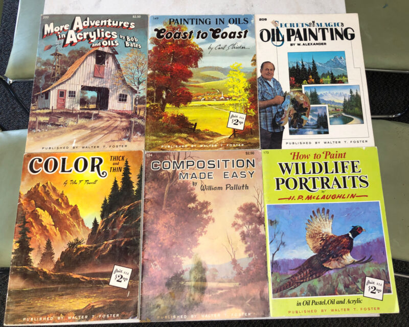 Lot 6 Vintage Walter T Foster Art Books / Magazines