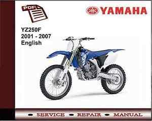 yamaha yz250f 2001 2007 service repair workshop manual ebay. Black Bedroom Furniture Sets. Home Design Ideas