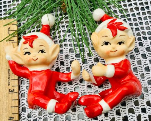 Vintage Christmas LEFTON Red Hat PIXIE ELF Ceramic CANDLE CLIMBERS Japan