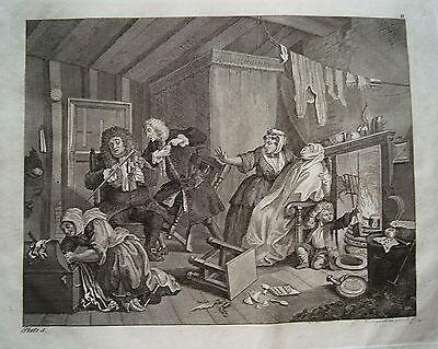William Hogarth Werdegang der Dirne 5 Sex  Prostituierte alter Kupferstich 1800