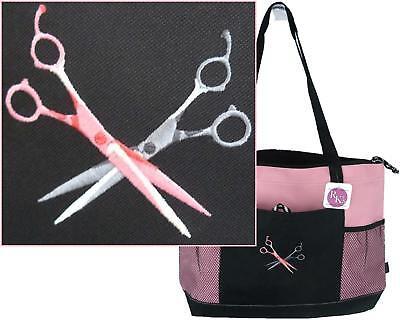 - Hair Stylist Shears Scissors Monogram Gemline Bag Pink Zipper Tote Salon Gift