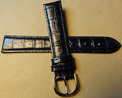 18mm Regular Leather Dark Blue Crocodile Grain Watch Band Silver Tone Buckle
