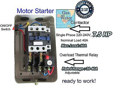 Magnetic 7.5hp Electric Motor Starter Single Phase 220240v 30-40a Onoff Switch