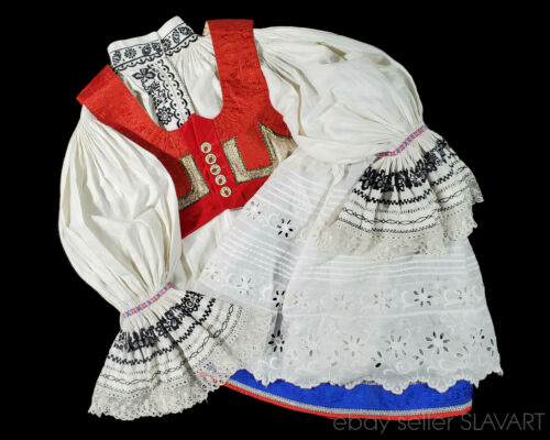 CZECH FOLK COSTUME Moravian Kyjov wedding kroj embroidered ethnic blouse vest ++
