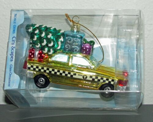 New Kurt Adler NYC Checker Taxi with Tree Glass Ornament