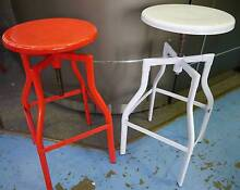 New Red White Retro Industrial Turner Metal Bar Stools were $99 Melbourne CBD Melbourne City Preview