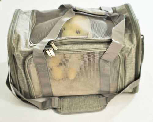small animal carrier case collapsible mesh opening cushioned pad carry strap