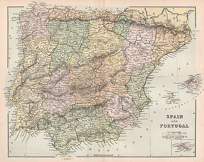 1900 Ca ANTIQUE MAP SPAIN AND PORTUGAL