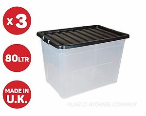 3 X 80 LITRE PLASTIC STORAGE BOX - QUALITY CONTAINER - CLEAR WITH BLACK LIDS!!