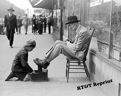 47th Street Photo - Historical Photograph of a  Shoeshine Boy on 47th Street Chicago 1941   8x10