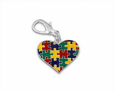 Autism Awareness Puzzle Piece Multicolored Heart Hanging Charm