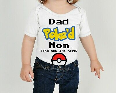 Pokemon Dad Poked Mom Funny Baby Bodysuit Infant Kid Outfit Pokeball Shirt Toddl