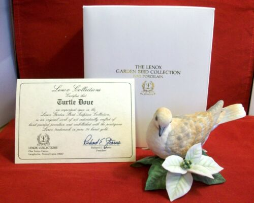 LENOX Ringed Turtle Dove Garden Bird sculpture Collection Mint in Box with COA