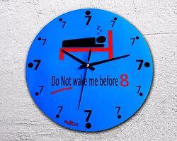 Wall clock wood Novelty gift fun time Quartz Sleep Top quality 25cm New blue