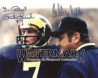 "BO SCHEMBECHLER & Rick Leach Michigan Football pp SIGNED 8""x10"" Photo"