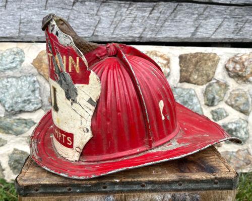 Antique Fire Helmet Cairns High Eagle Captain Exempts Lancaster PA Find Vintage