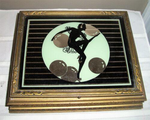 VINTAGE ART DECO JEWELRY BOX SILHOUETTE MIRROR REVERSE PAINTED OPPENHEIM COLLINS