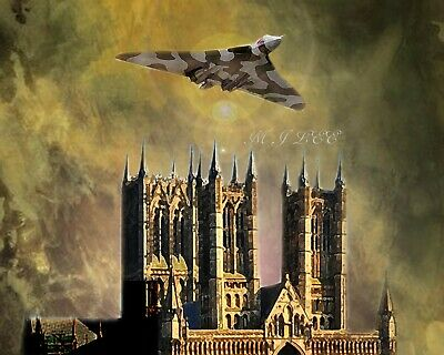BEAUTIFUL LINCOLN lancaster bomber red arrows  lincoln cathedral art by m j lee