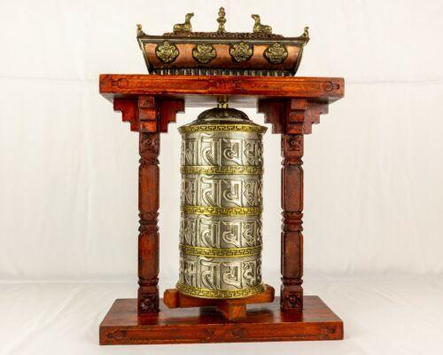 Tibetan Buddhist Handcrafted Spinning Prayer Wheel Large Table Shrine Incense