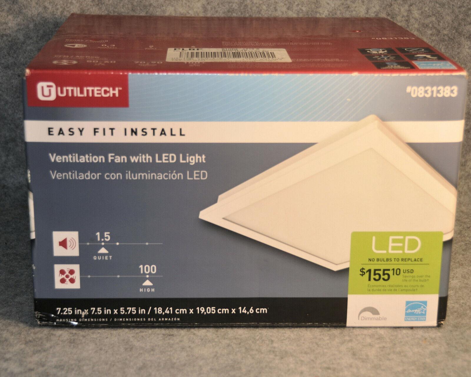 Utilitech 0831383 Ventilation Fan with LED Light 100 CFM  -