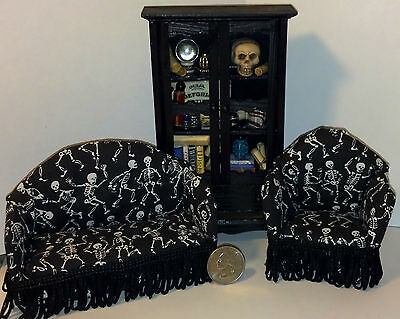 Dollhouse Miniature Halloween Sofa Chair Living Room 1:12 G77 Dollys Gallery