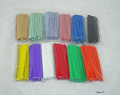 100, 500, 1000  PAPER Twist Ties Cello Bag or General Use U-Pick Color & Size Colored Twist Ties