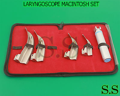 Set Of 4 Laryngoscope Mac Intubation Blades Medium Handle Anesthesia