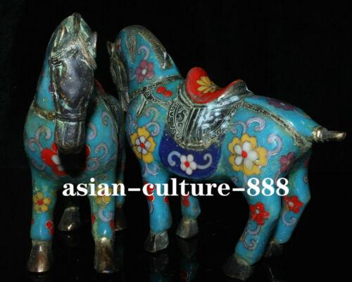 Pair Old Bronze Cloisonne Enamel Fengshui Horses Horse war-horse Success Statue