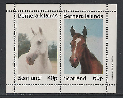 GB Locals - Bernera 3275 - 1981  HORSES perf sheetlet of 2 unmounted mint