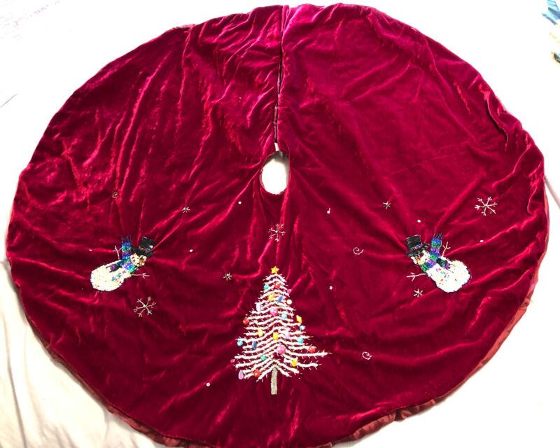 """Crushed Velour Velvet Lined Burgundy 45"""" Tree Skirt with Sequins Gems & Beading"""