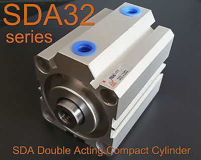 High Quality Sda32x15 Pneumatic Sda32-15mm Double Acting Compact Air Cylinder