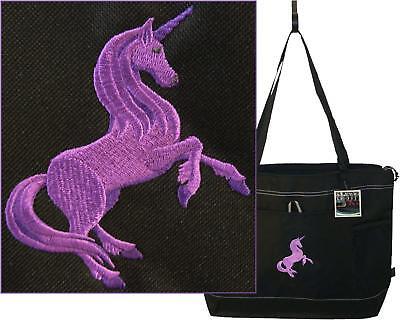 Purple Unicorn Gemline Black Zipper Tote Bag Monogram Mythical Fairy Tale Gift