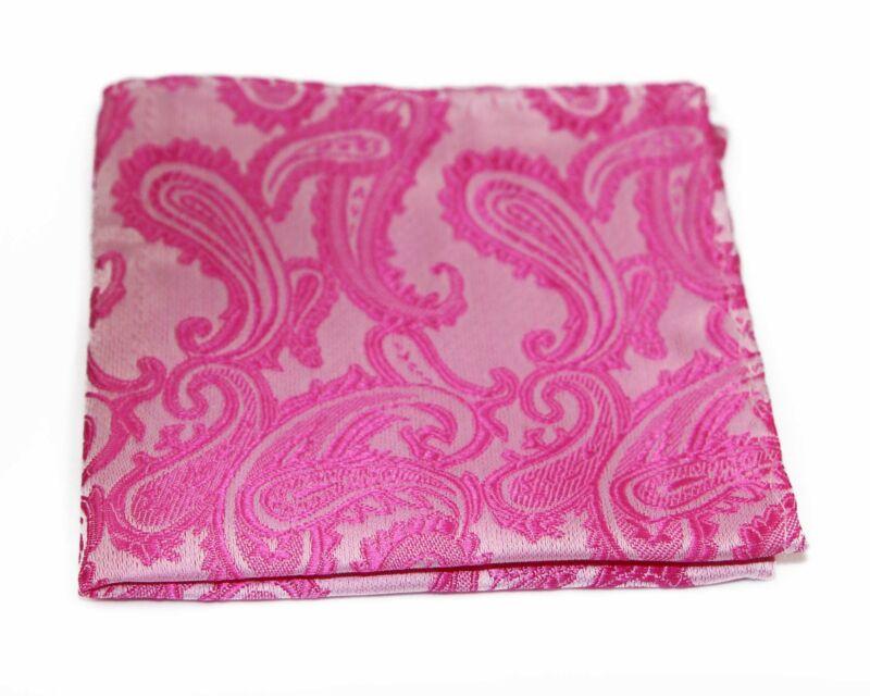 Mens Hot Pink Paisley Pocket Square