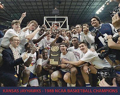 1988 Kansas Jayhawks Basketball - Kansas Jayhawks - 1988 NCAA Basketball Champions, 8x10 Color Photo