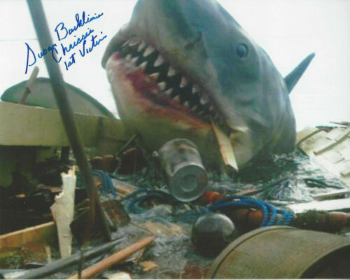 JAWS 1st Victim autographed 8x10 color photo Shark attacking the boat **