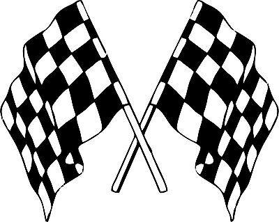 Sticker decal vinyl car bike laptop macbook bumber race checkered double flag ()