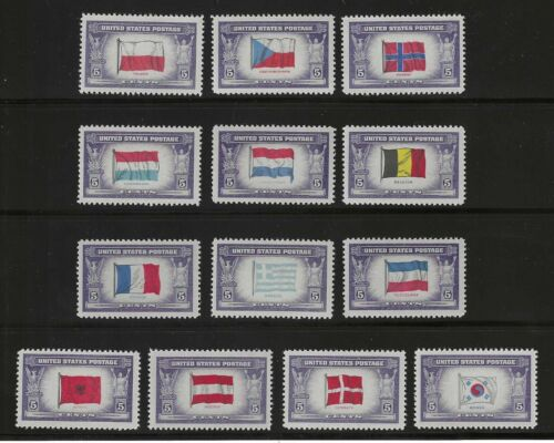 COMPLETE SET OF 13 WWII U.S. POSTAGE STAMPS FEATURING FLAGS OF FOREIGN COUNTRIES