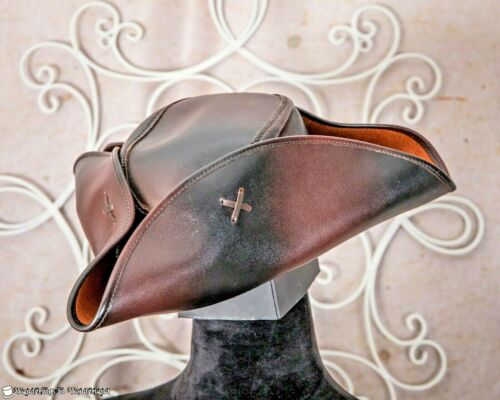 LEATHER PIRATE HAT Tricorn Colonial Brown SCA Captain Jack Small Buccaneer