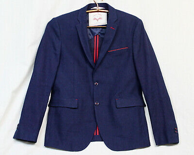 ZARA MAN Denim Coutures Men's 42 Sport Jacket Blue w/ Red Trim