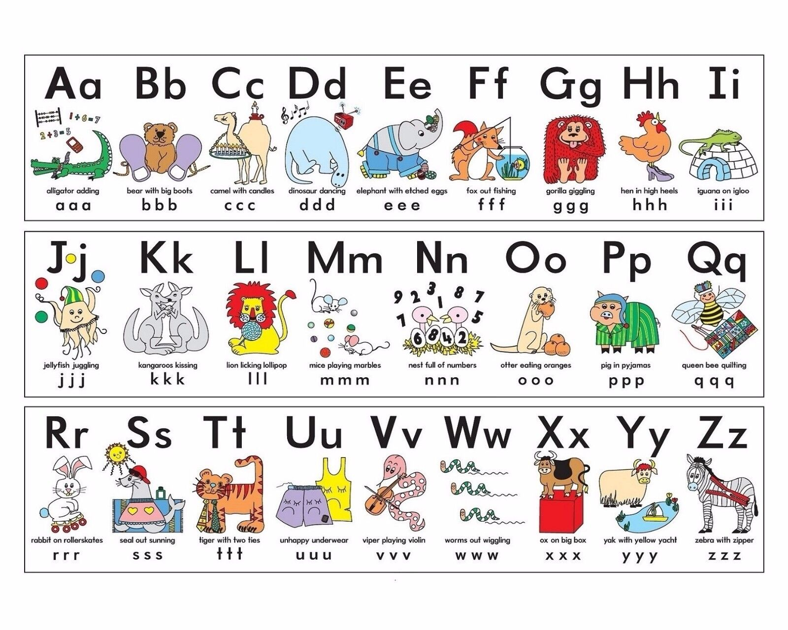 ALPHABET A - Z CHILDREN KIDS EDUCATIONAL POSTER CHART A4 SIZE SCHOOL HOME LEARN
