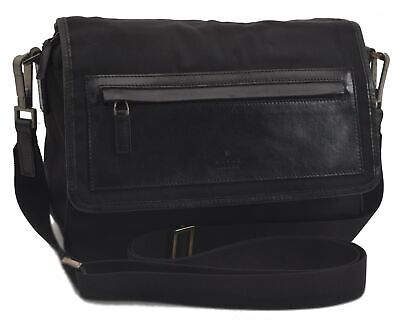 Authentic GUCCI Shoulder Cross Body Bag Nylon Leather Black C0898