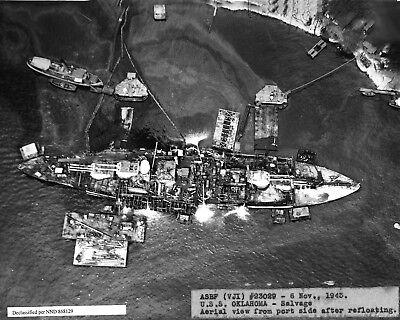 1943 World War 2 Photo Pearl Harbor Uss Oklahoma Refloats After Japanese Sinking