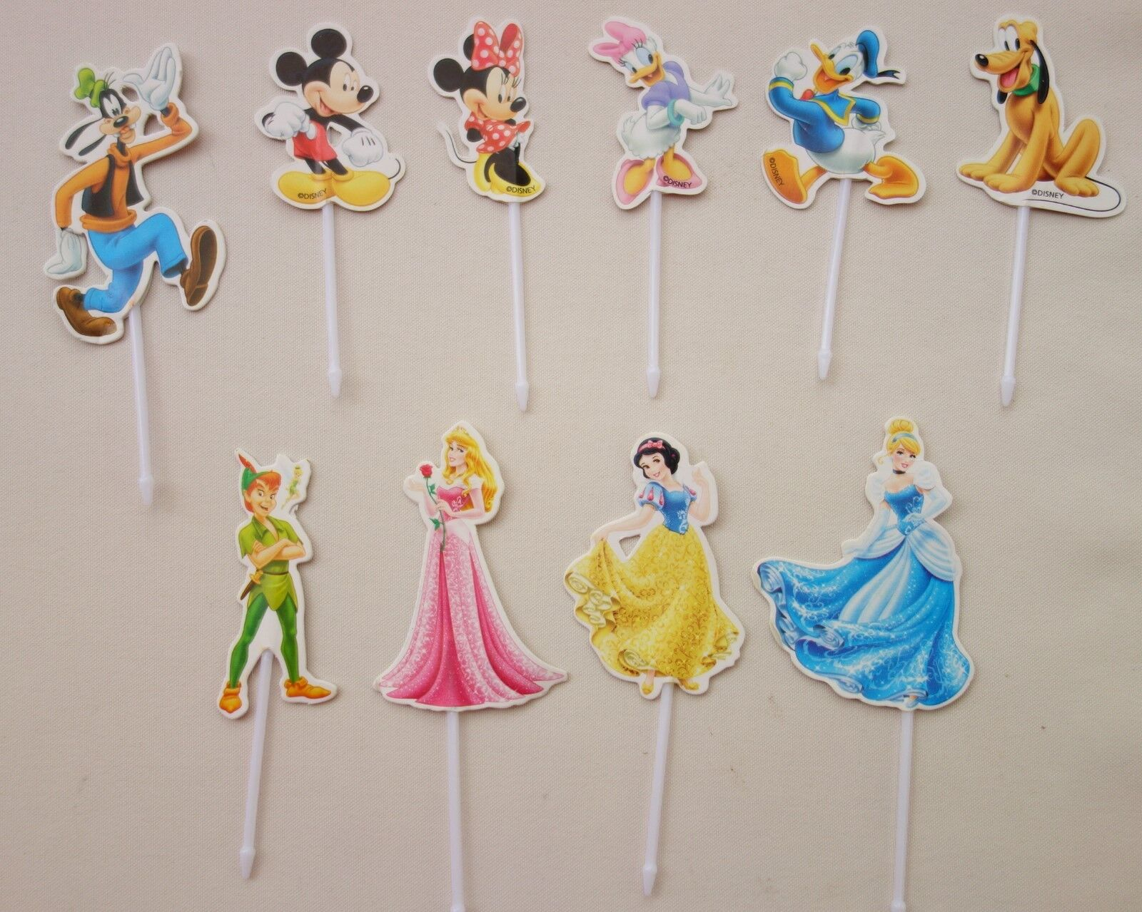 10 x Deko Zahnstocher Disney Party Dekostecker Sticker Kuchenstecker Torten