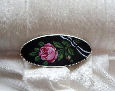 Jugendstil antik zierliche Rosen Brosche + Emaille + 800 Silber + Handarbeit
