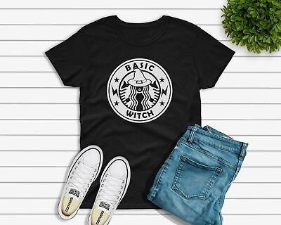 Basic Witch halloween Starbucks t-shirt or DIY transfer Womens Unisex UK seller