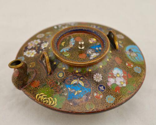Meiji Japanese Cloisonne kyoto-jippo enamelled butterfly & floral saki tea pot