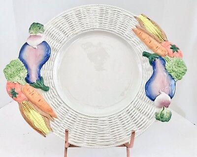 """Vintage Fitz and Floyd 1989 Garden Basket Basketweave Vegetable 17"""" Platter"""