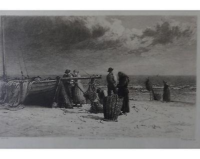 Gustav Eilers: Strandszene Ostsee Fischer - Orig. Radierung im Galerierahmen