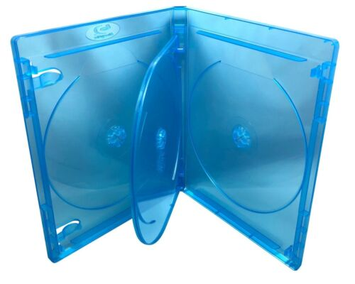 "1 Brand New Quad,4 Four Disc, Blue Tint, Blu Ray, BD, Media Case, 9/16"" 14mm"