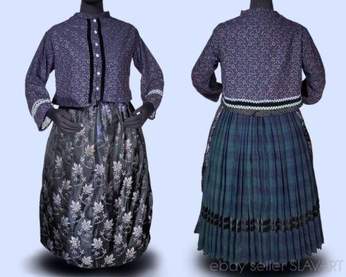 Vintage German folk costume wool plaid skirt jacket brocade apron ethnic dress